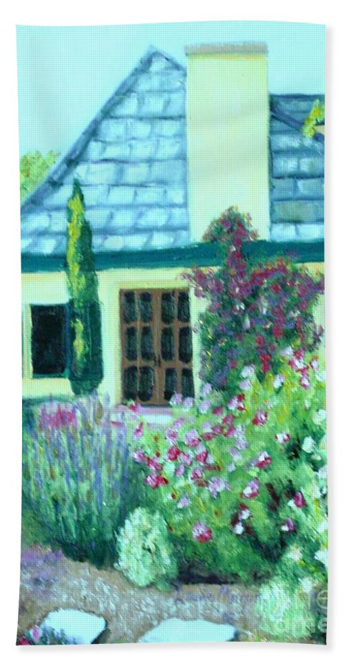 Cottage Beach Towel featuring the painting Guest Cottage by Laurie Morgan