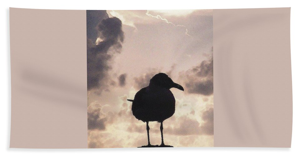 Seagull Beach Towel featuring the photograph Gullhouette by Amber Stubbs