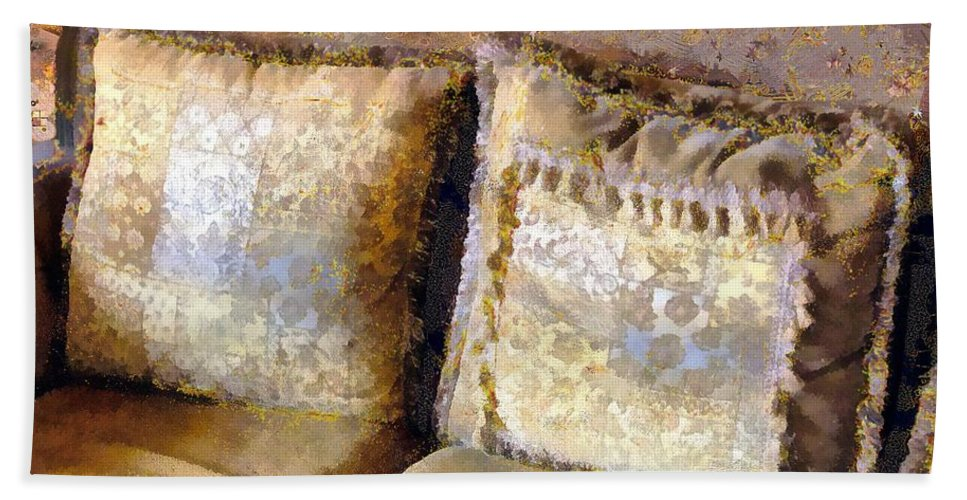 Antique Beach Towel featuring the painting Gustav's Couch by RC DeWinter