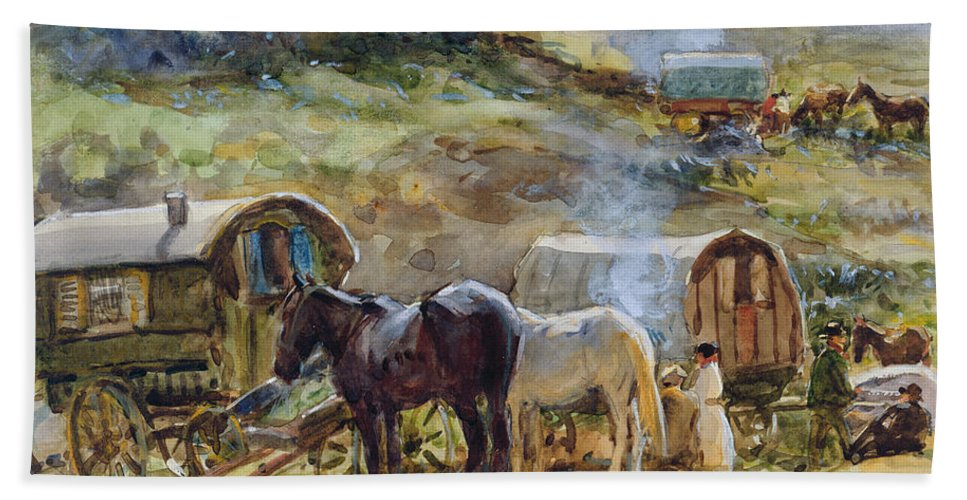 Gypsy Beach Towel featuring the painting Gypsy Encampment by John Atkinson