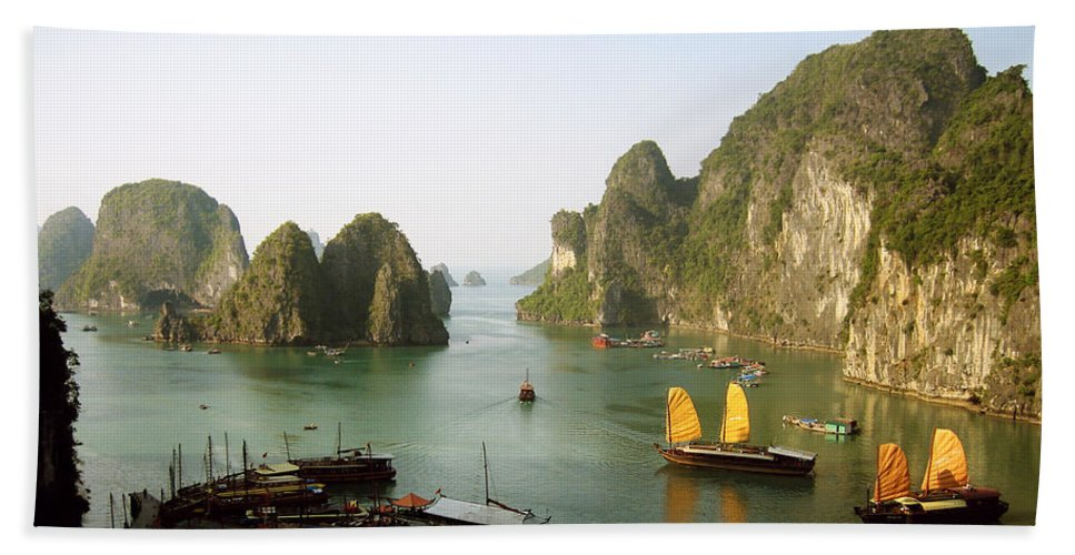 Ha Long Bay Beach Towel featuring the photograph Ha Long Bay by Oliver Johnston