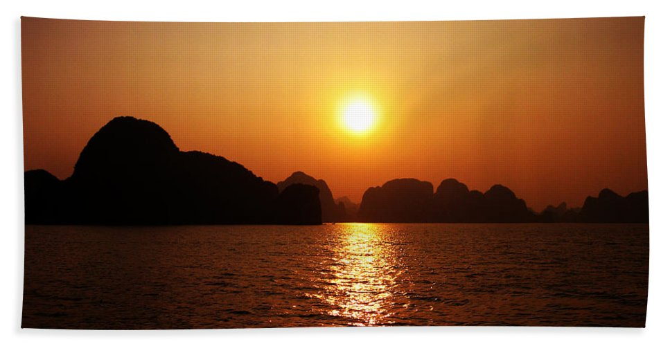 Orange Beach Towel featuring the photograph Ha Long Bay Sunset by Oliver Johnston