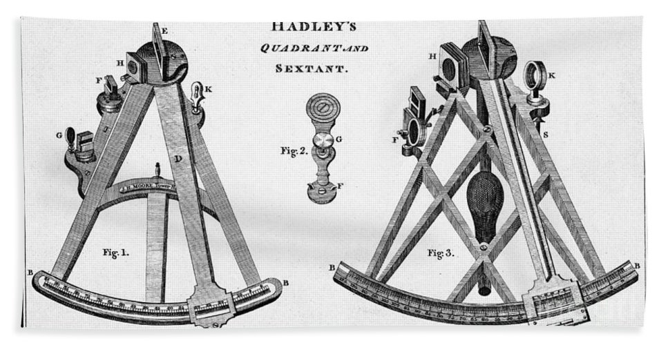 Historic Beach Towel featuring the photograph Hadleys Quadrant And Sextant, 1806 by Wellcome Images