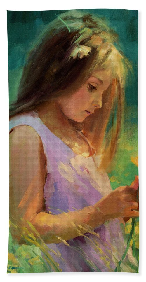 Girl Beach Towel featuring the painting Hailey by Steve Henderson