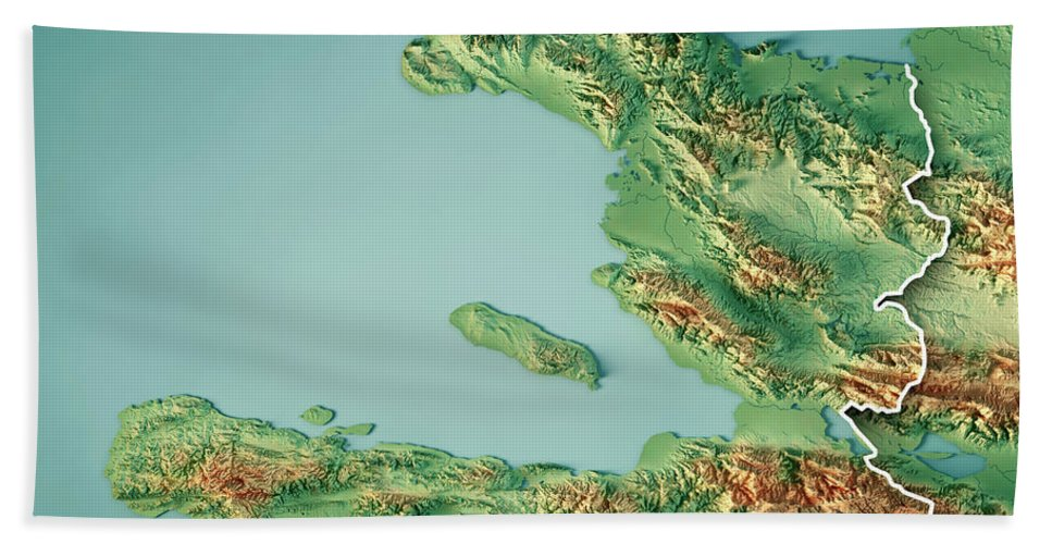 Topographic Map Of Haiti.Haiti 3d Render Topographic Map Border Beach Towel For Sale By Frank