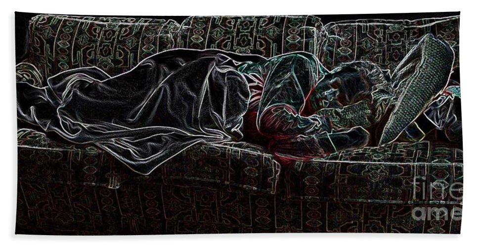 Sleeping Woman Beach Towel featuring the photograph Halfabaskan Sleeping by Ron Bissett