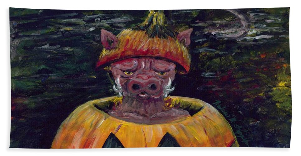 Halloween Beach Towel featuring the painting Halloween Hog by Nadine Rippelmeyer