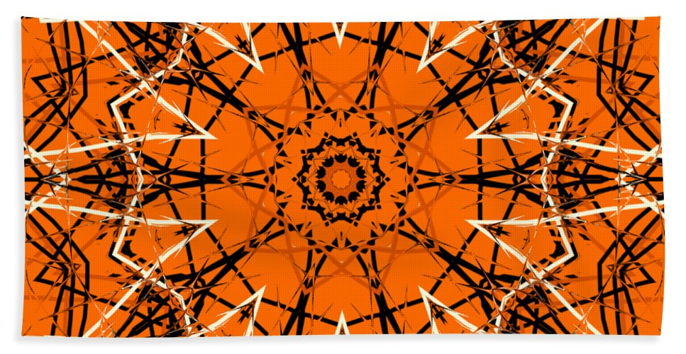 Digital Art Beach Towel featuring the digital art Halloween Kaleidoscope 12 by Kristalin Davis
