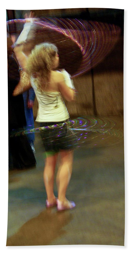 Hula Hoop Beach Towel featuring the photograph Halo Hool Frolic by Jay Ressler