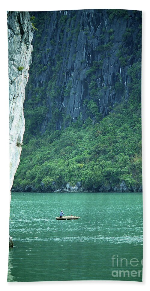 Vietnam Beach Towel featuring the photograph Halong Bay 01 by Rick Piper Photography