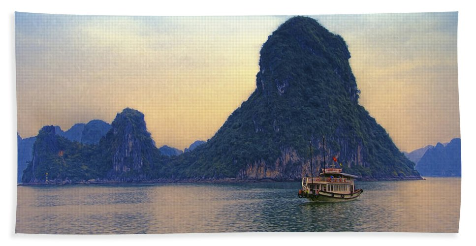 Vietnam Beach Towel featuring the photograph Halong Bay 5 by Claude LeTien