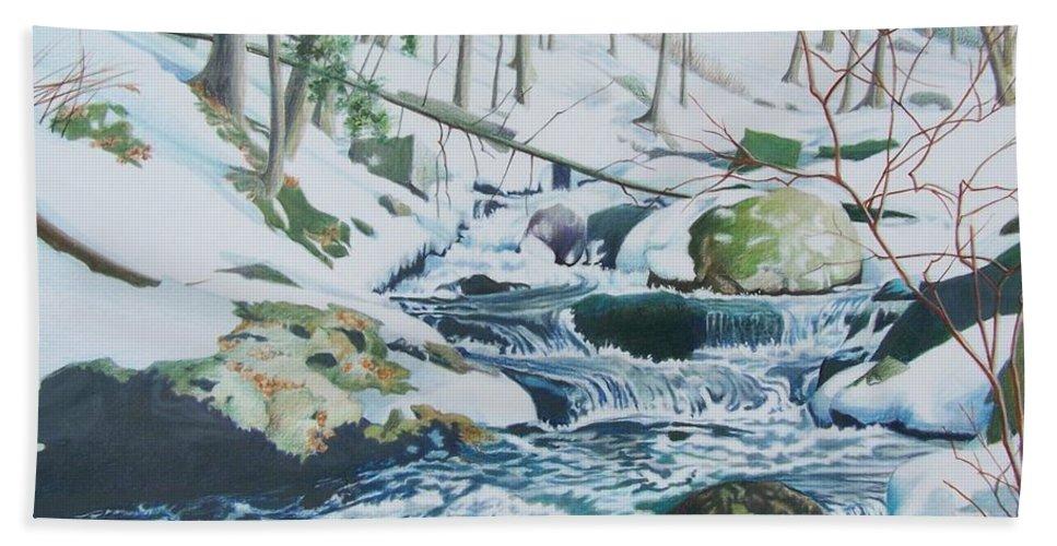 Snow Beach Towel featuring the mixed media Hamburg Mountain Stream by Constance Drescher