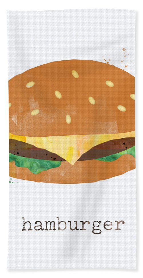 Hamburger Beach Towel featuring the painting Hamburger by Linda Woods