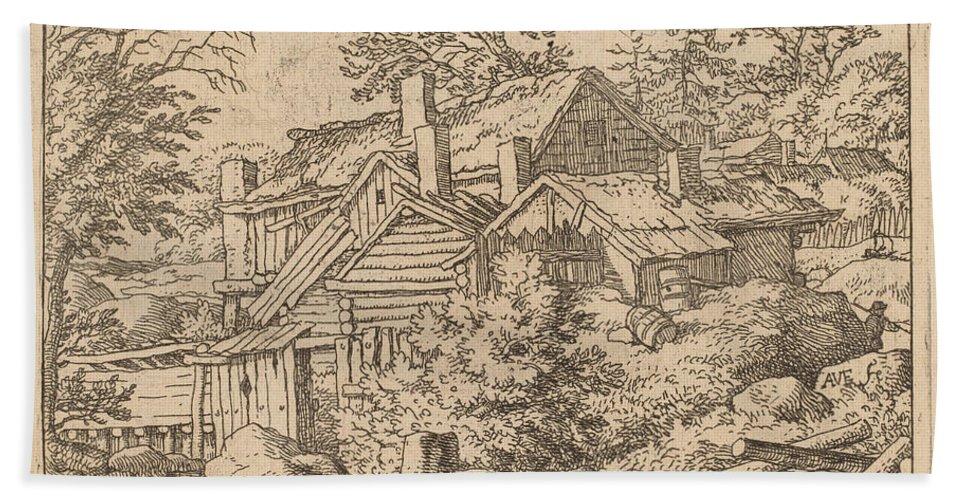 Beach Towel featuring the drawing Hamlet On A Mountain Side by Allart Van Everdingen