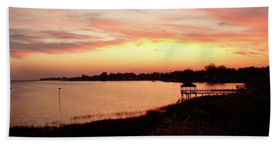 Hampton Beach Towel featuring the photograph Hampton Virginia Sunset by Brett Winn