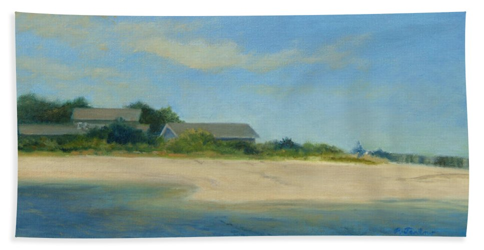 Landscape Beach Towel featuring the painting Hamptons Beach House by Phyllis Tarlow
