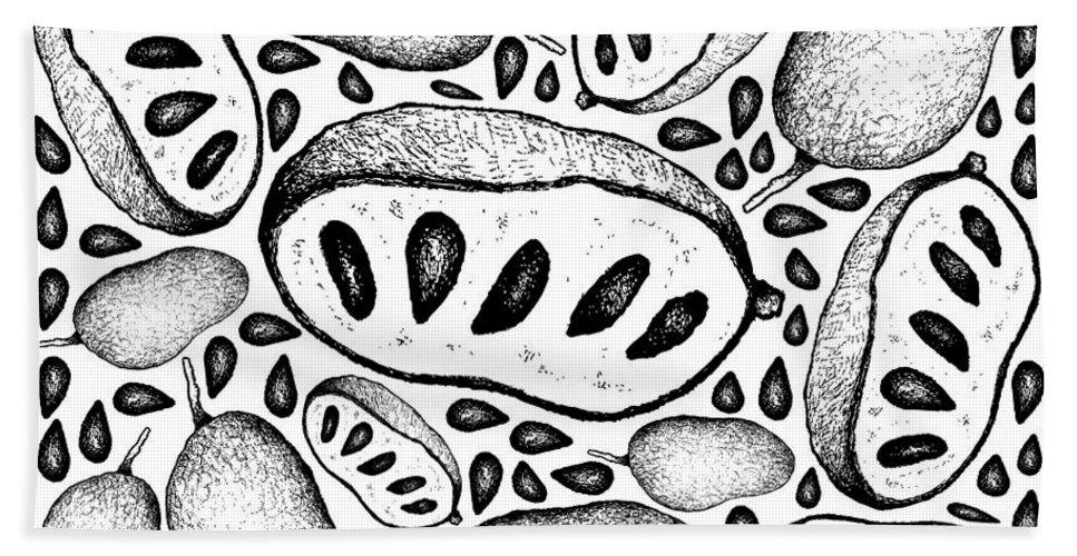 Hand Drawn Background Of Fresh Paw Paw Fruits Beach Towel