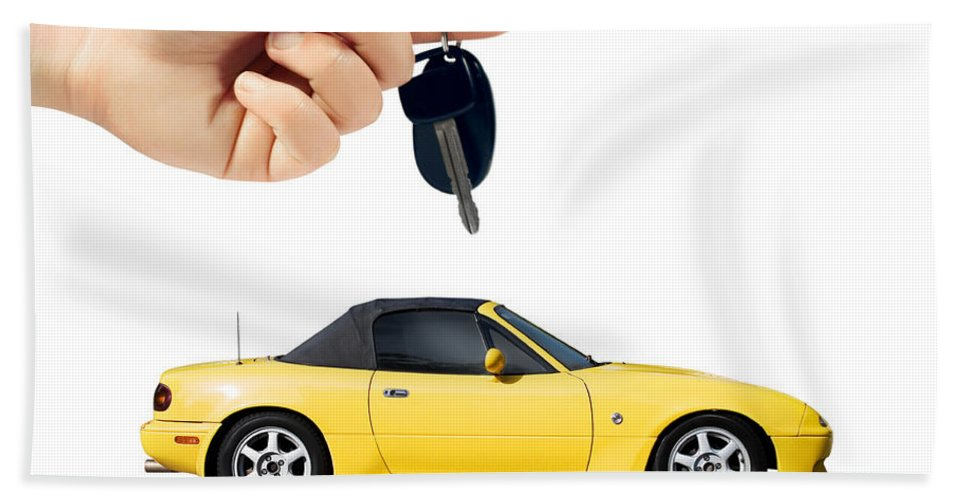 Car Beach Towel featuring the photograph Hand Holding Key To Yellow Sports Car by Jorgo Photography - Wall Art Gallery