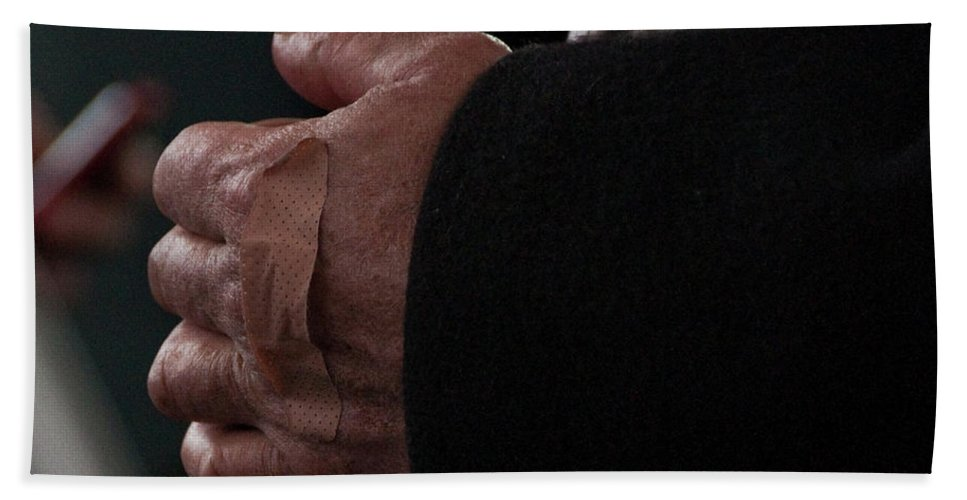 Hand Beach Towel featuring the photograph Hand With Bandaid by Steven Natanson