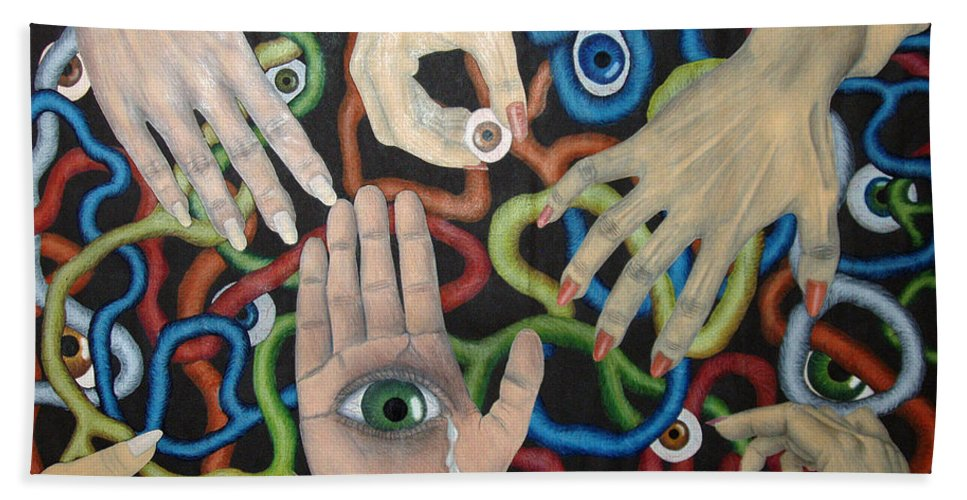 Collage Beach Towel featuring the drawing Hands And Eyes by Nancy Mueller