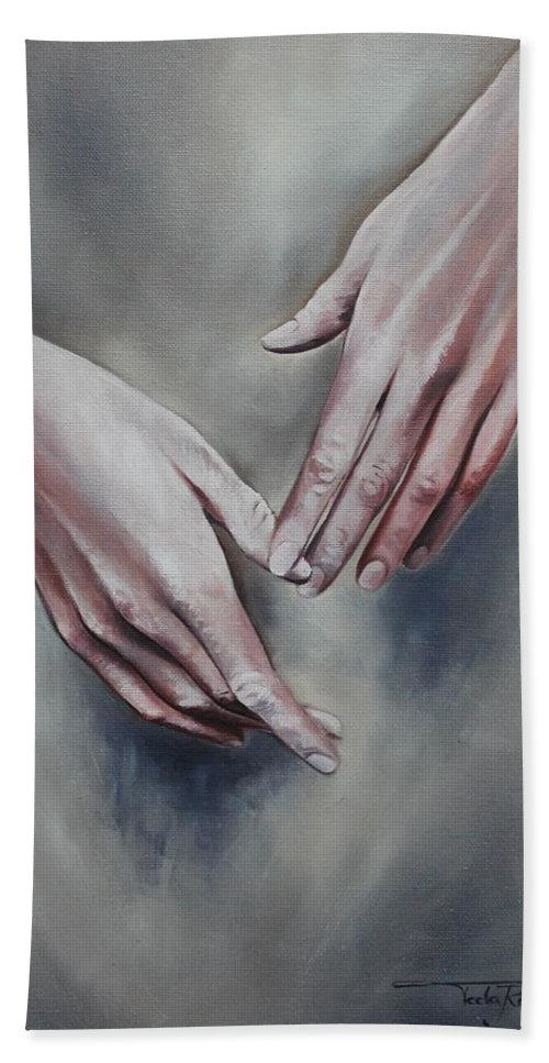 Hands Beach Towel featuring the painting Hands Study by Rebecca Tecla