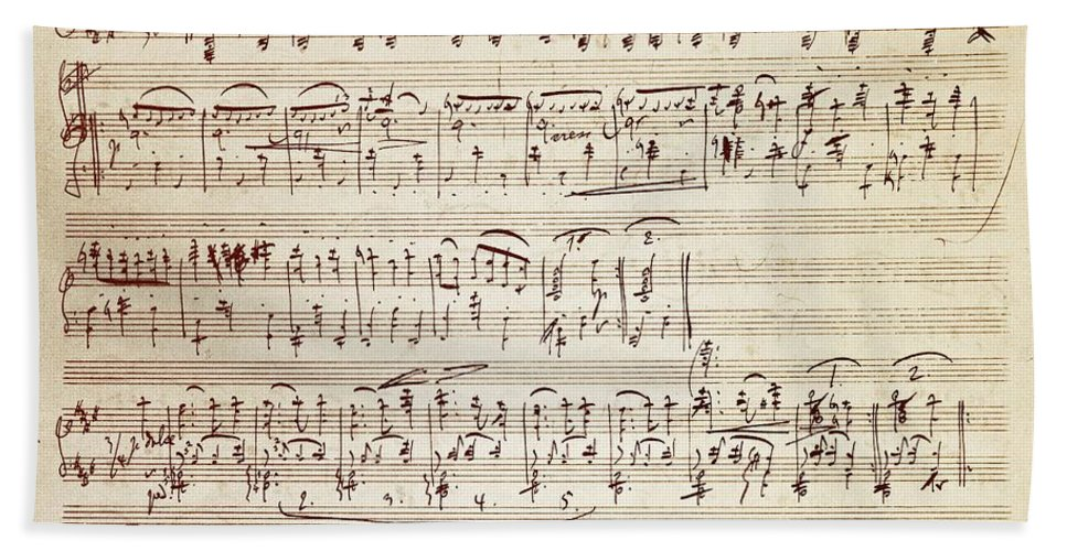 Brahms Beach Towel featuring the drawing Handwritten Score For Waltz For Piano, Opus 39 by Johannes Brahms