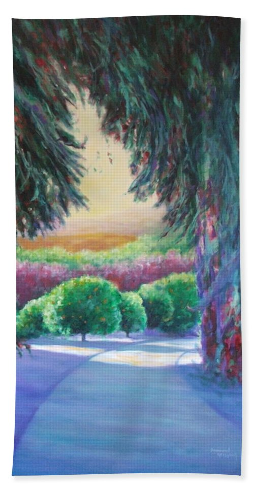 Landscape Beach Towel featuring the painting Happily Ever After by Shannon Grissom