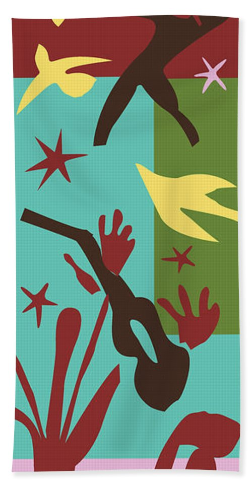 Henri Matisse Beach Towel featuring the painting Happiness - Celebrate Life 4 by Xueling Zou