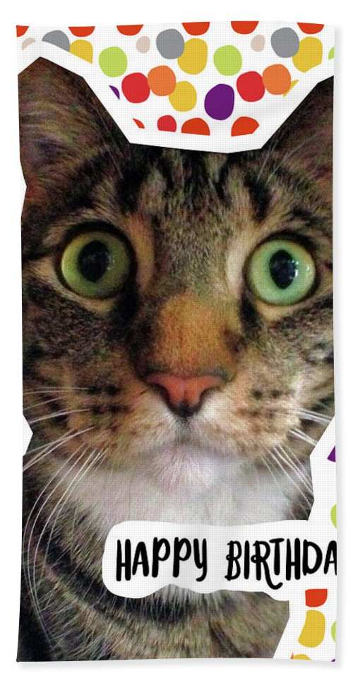 Happy Birthday Cat- Art by Linda Woods Beach Towel for ...