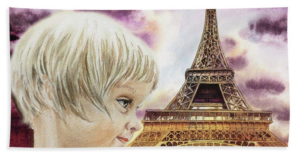 Happy Birthday French Girl Paris Card Beach Towel