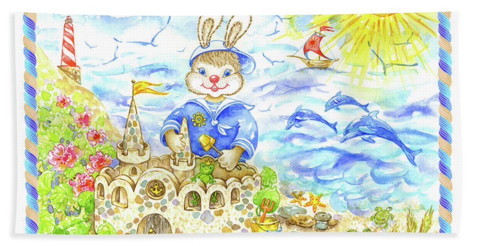 Navy For Kids Beach Towel featuring the painting Happy Bunny Building Castle by Svetlana Titarenko