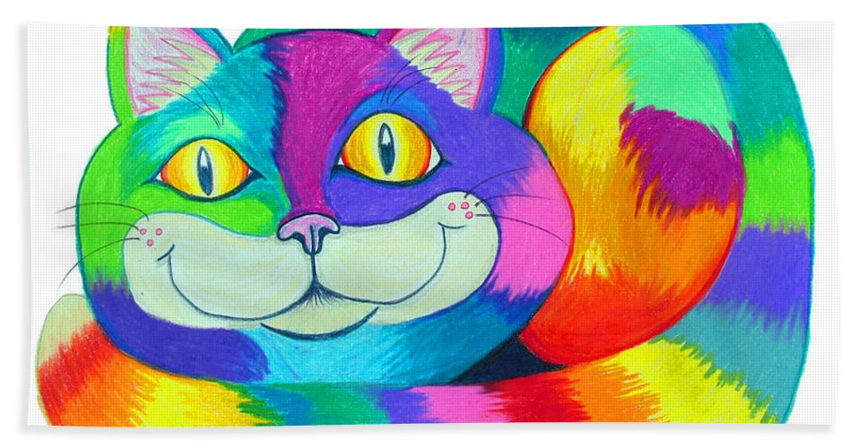 Cat Beach Towel featuring the drawing Happy Cat by Nick Gustafson