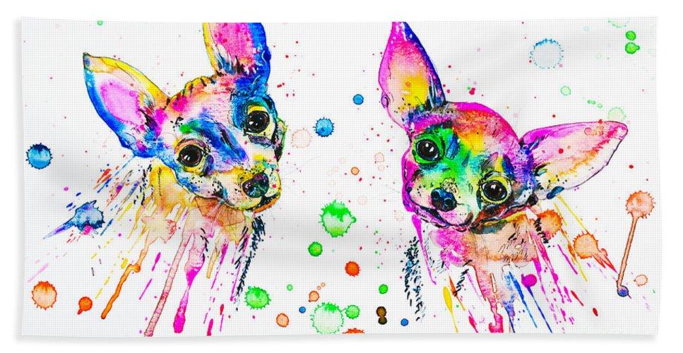 Chihuahua Beach Towel featuring the painting Happy Chihuahuas by Zaira Dzhaubaeva