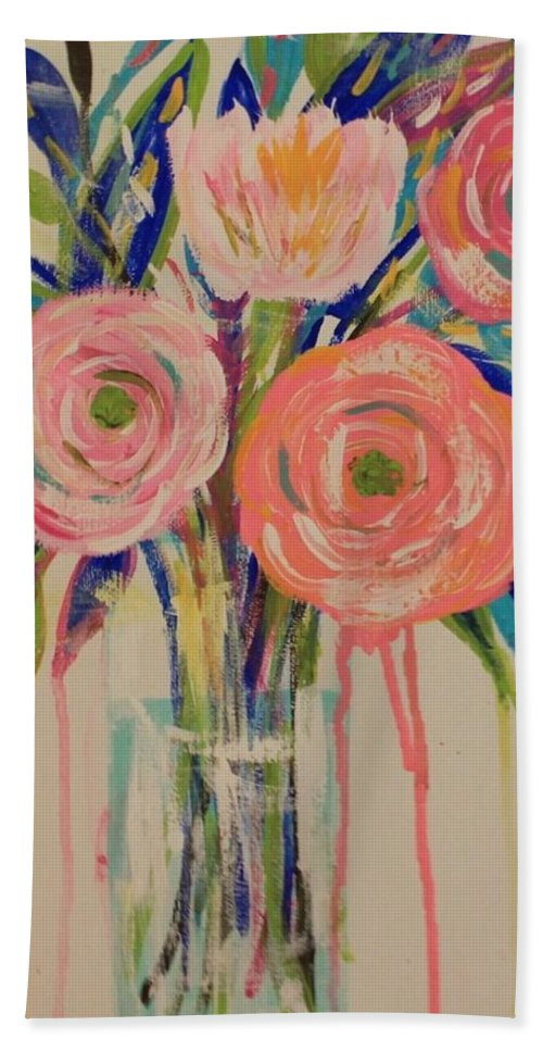 Floral Beach Towel featuring the painting Happy Day by Melisa Farthing