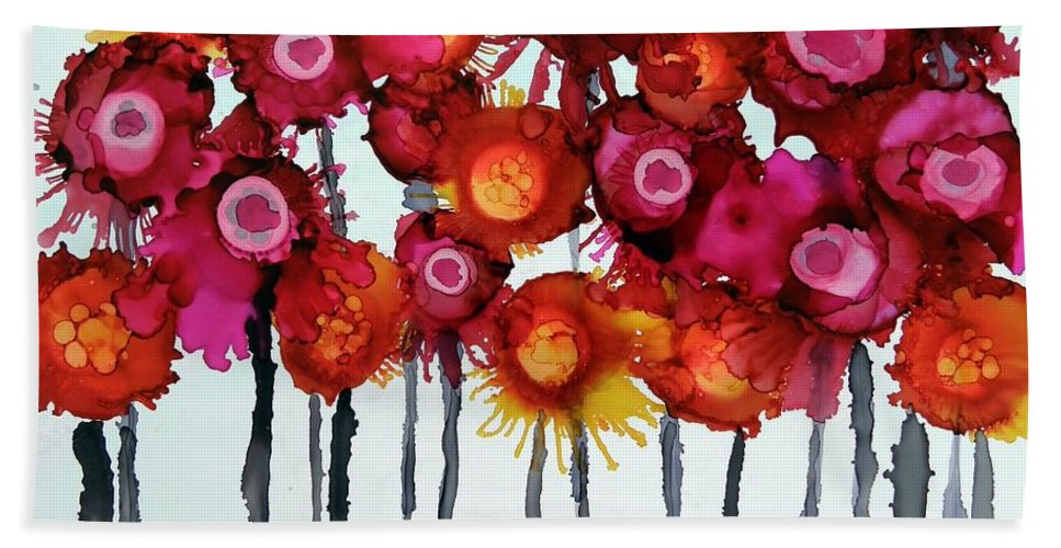 Alcohol Ink Beach Towel featuring the painting Happy Family by Beth Kluth