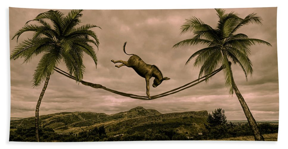 Surreal Art Beach Towel featuring the mixed media Happy Feeling by Barroa Artworks
