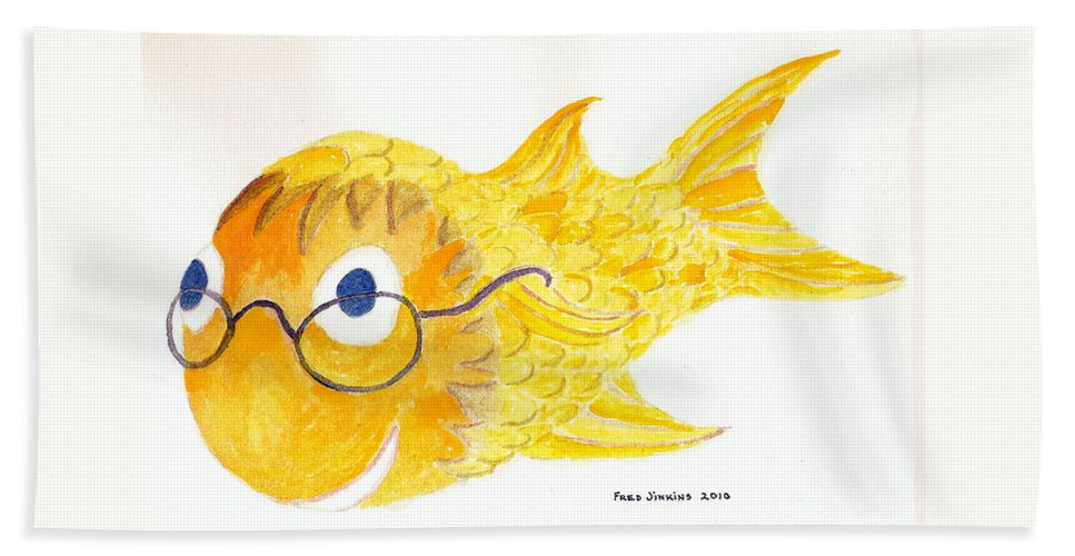 Glasses Beach Towel featuring the painting Happy Fish With Glasses by Fred Jinkins