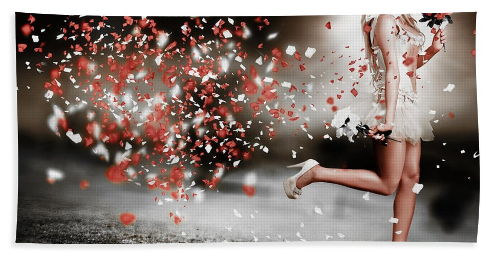 Abstract Beach Towel featuring the photograph Happy Flower Girl In A Running Love Heart Romance by Jorgo Photography - Wall Art Gallery