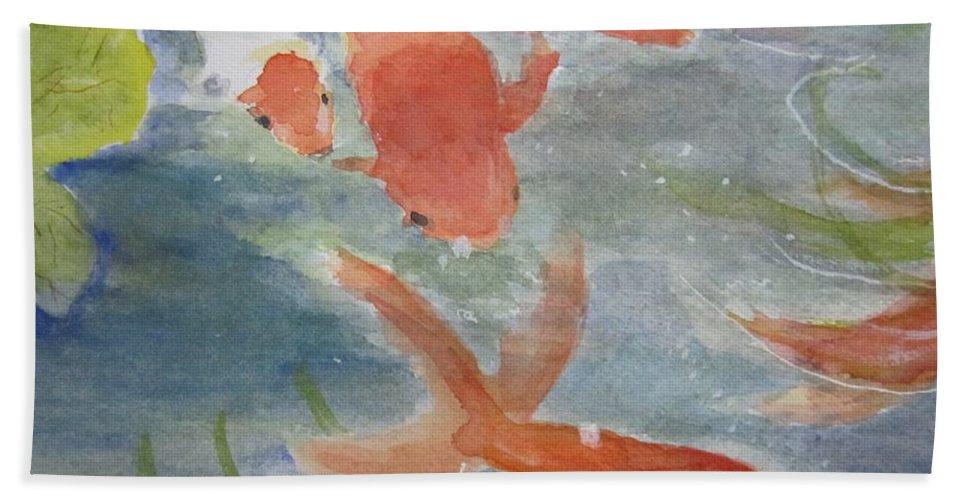 Fish Beach Towel featuring the painting Happy Koi by Elvira Ingram