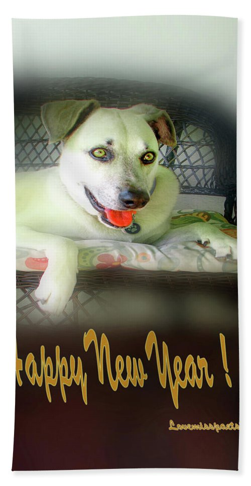 Greeting Cards Beach Towel featuring the digital art Happy New Year Art 2 by Miss Pet Sitter