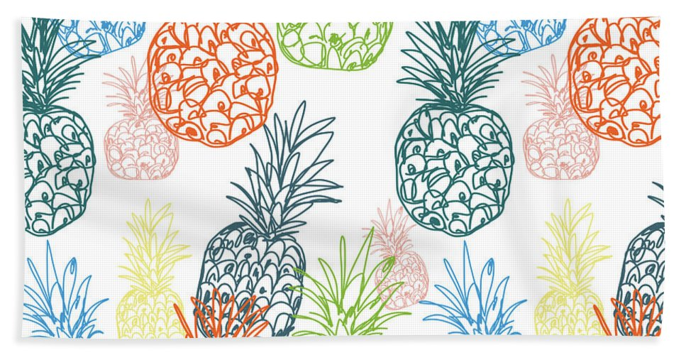 Pineapple Beach Towel featuring the digital art Happy Pineapple- Art by Linda Woods by Linda Woods