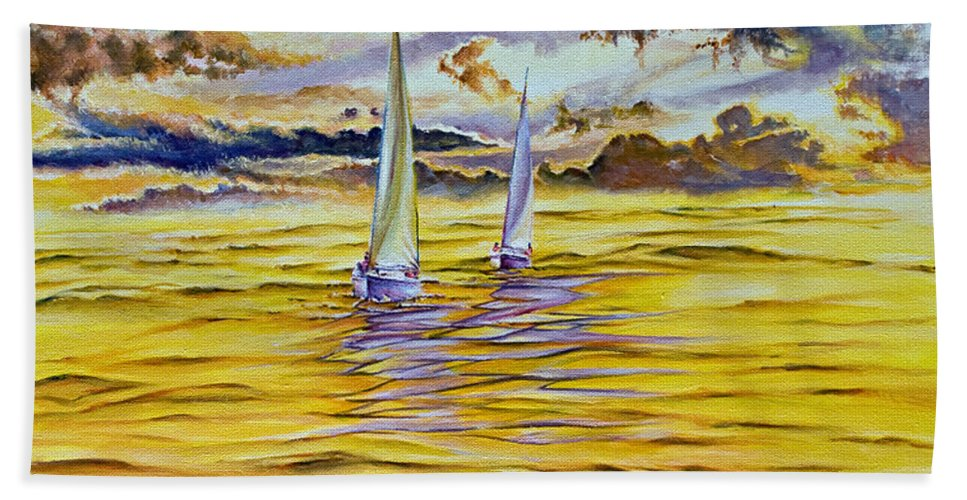 Beach Towel featuring the painting Happy Sailing by Michel Angelo Rossi