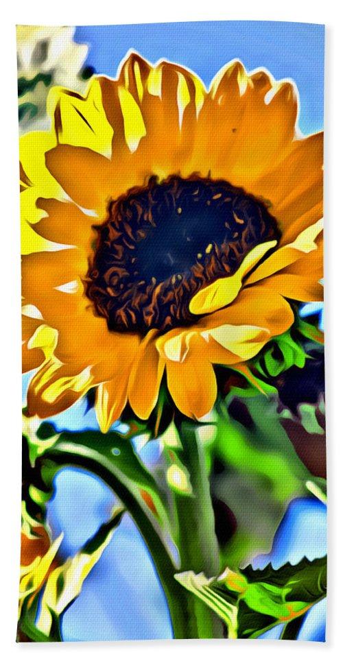Sunflower Beach Towel featuring the photograph Happy Sunflower by Modern Art