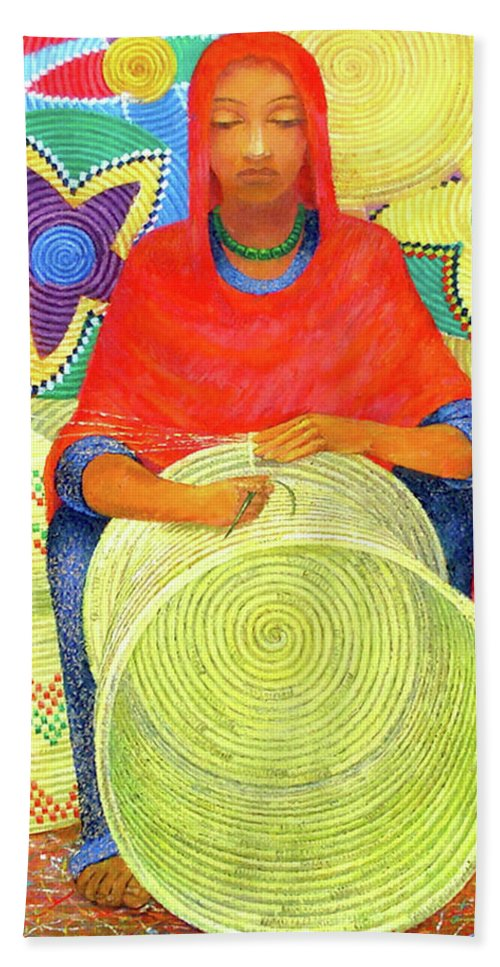 Woman Beach Towel featuring the painting Harar Lady 2 by Yoseph Abate