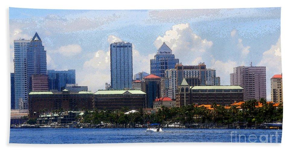 Harbor Island Florida Beach Towel featuring the painting Harbor Island Florida by David Lee Thompson