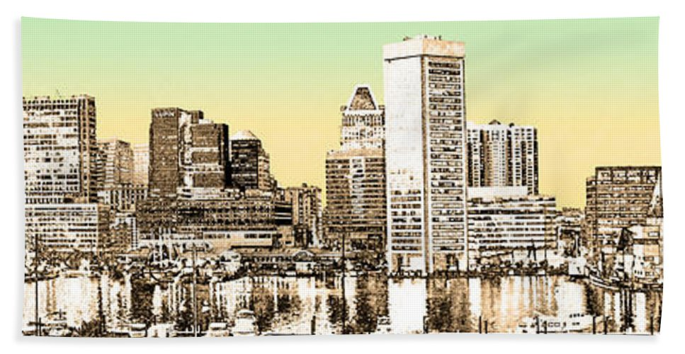 2d Beach Towel featuring the photograph Harbor Lights From Federal Hill - Drawing Fx by Brian Wallace