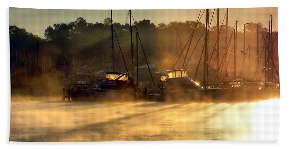 2d Beach Towel featuring the photograph Harbor Mist by Brian Wallace