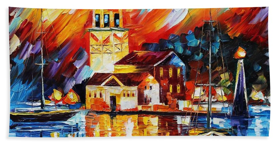 Afremov Beach Towel featuring the painting Harbor Of Excitement by Leonid Afremov