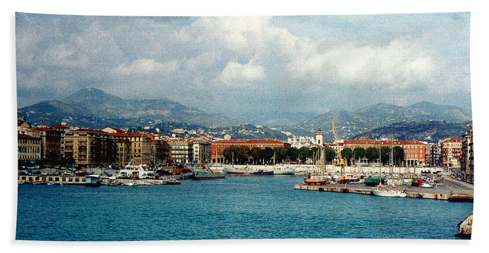 Landscape Beach Towel featuring the photograph Harbor Scene In Nice France by Nancy Mueller
