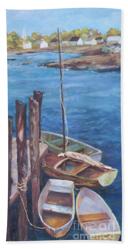 Coastal Landscape Beach Sheet featuring the painting Harbor View So. Freeport Wharf by Alicia Drakiotes
